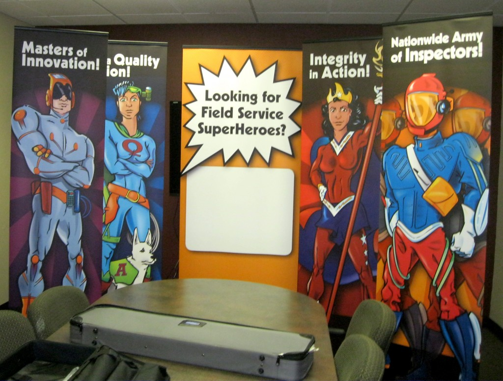 Banners set up in conference room.